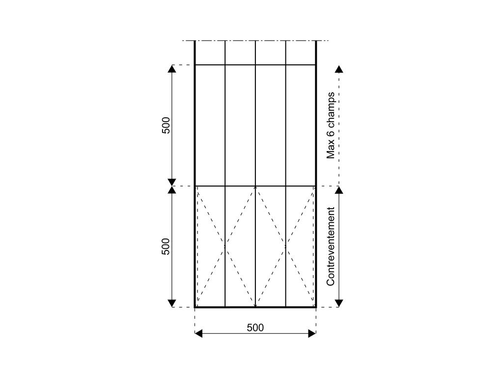 Bâtiments démontables isolés 5 m, HS 4,20 m